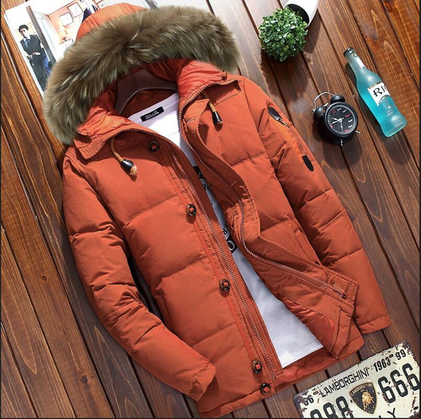 Mens winter jacket 2018 New Men's clothing parka men thick down jacket men coat White duck down winter parka Raccoon fur collar
