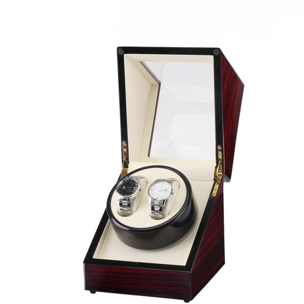 Orologio Winder Box, Global Use Plug / Battery 2 slot Lacca Legno Ruota Orologi Box Slient Motor Display Orologio Winder Case