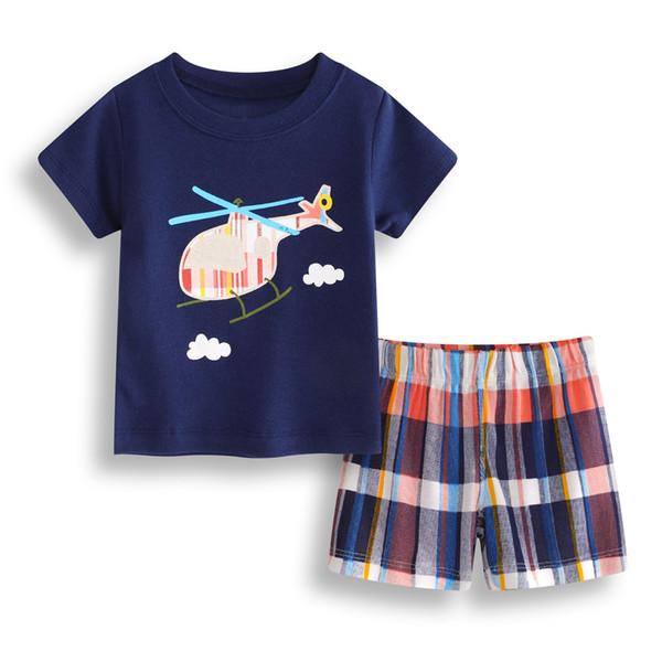 Helicopter Baby Boy Clothes Set Cotton Children T-Shirt Plaid Pant Boys Tee Shirts Clothing 2PCS Suit Outfit Infant Sport Suit