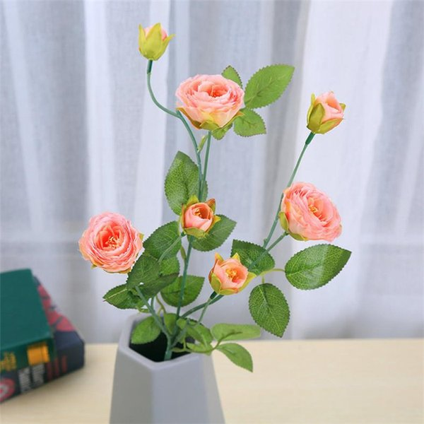 Fake Long Stem Rose (8 heads/piece) Simulation Camellia Tea Rose with Green Leaf for Wedding Home Showcase Decorative Artificial Flowers