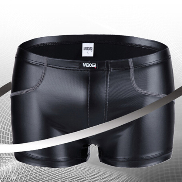 Fashion Boxers shorts Faux Leather Sexy gay Underwear Men shorts Casual boxer trunks panties penis pouch black stage clothing