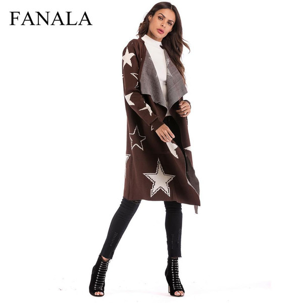 2018 Autumn Cardigan Sweater Knitting Loose Coat Long Sleeve Mid-length Coat Patchwork Star Pattern Knitted Cardigan