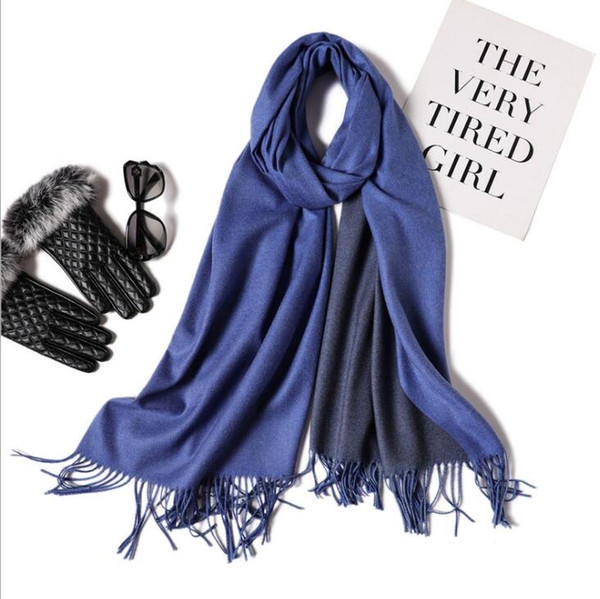 32 STYLES Double Faced Two Color Womens Soft Cashmere Feel Pashmina Shawls Wraps Large Long Winter Scarf Imitation Cashmere Scarf