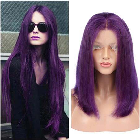 For Black Women Indian Purple Human Hair Full Lace Wigs Silky Straight Bob Lace Wigs Pure Purple Lace Front Wigs Glueless 130 Density