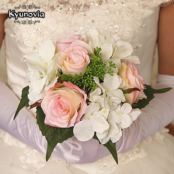 Природные Гортензии Розы Boho Невесты Свадебный Букет Деревенский Свадебные Цветы Бордовый Румяна Свадебный Букет D36