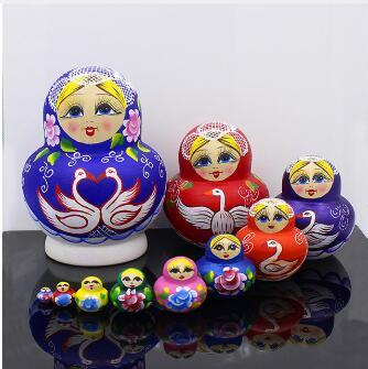 Mnotht Fashion Swan 10 Layer Russian Dolls Dry Basswood Big Belly Matryoshka Doll Nesting L30 Wooden Education Toys For Children
