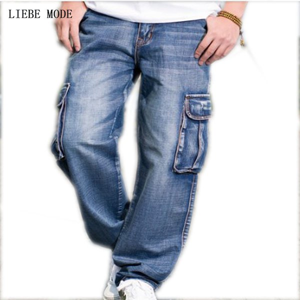 Multi Cargo Big Pocket Wide Leg Loose Jeans For Men Hip Hop Baggy Jeans Homme Men's Denim Trousers Plus Size 42 44 46