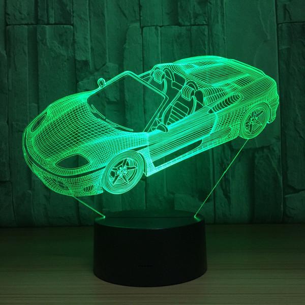 Спортивный автомобиль форма 3D иллюзия Ночной свет 7 цветов меняется LED настольная лампа #T56