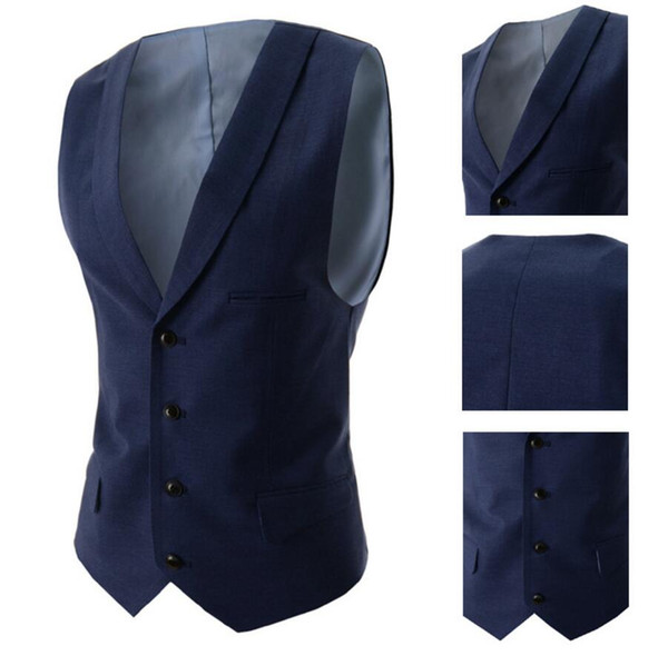 Navy Blue Suit Vest Singest Breasted Buttons Designer Waistcoats Men Jackets Sleeveless Cotton Slim Fit Casual Spring Autumn