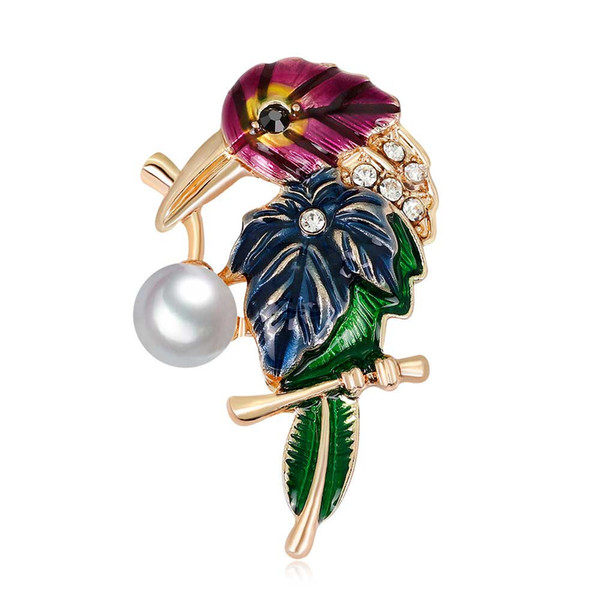 Elegant Crystal Pearl Enamel Brooches Pin For Women Men Clothes Scarf Bag Broach Fashion Party Jewelry European Style Parrot Bird Wholesale