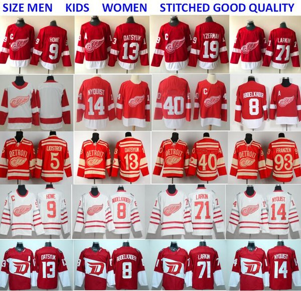 best selling Detroit Red Wings Jerseys Hockey 71 Dylan Larkin 13 Pavel Datsyuk Steve Yzerman Sergei Fedorov Tyler Bertuzzi Anthony Mantha Gordie Howe Red