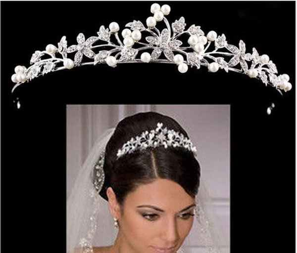 Luxury Bridal Crown Cheap but High Quality Sparkle Beaded Crystals Roayal Wedding Crowns Pearls Veil Headband Hair Accessories Party Tiaras