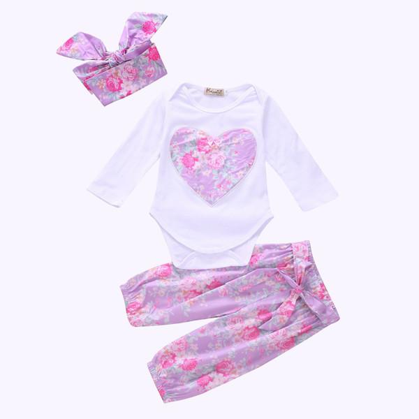 الفتيات الأرجواني القلب ثلاث قطع الملابس مجموعات الزهور رومبير هيرباند السراويل طفل الفتيات الخريف دعوى 100 ٪ قطن 0-24M