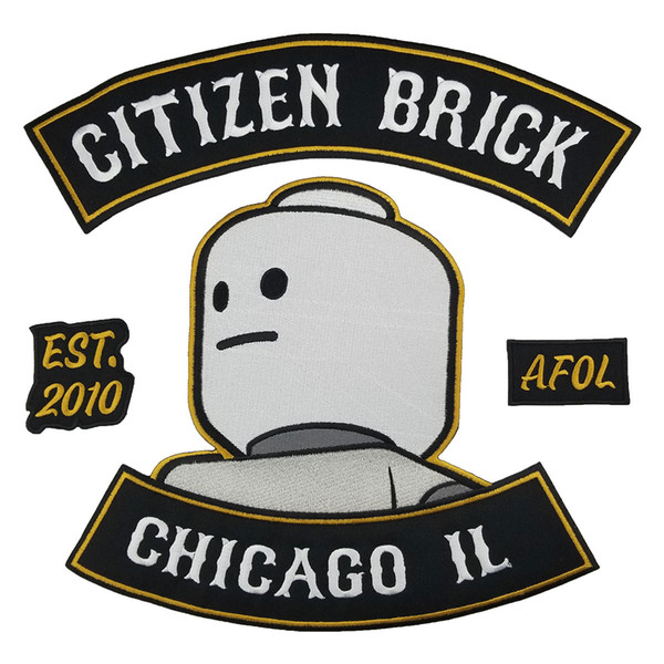 CITIZEN BRICK Motorcycle Club Patch Punk MC Embroidered Full Back Large Applique For Rocker Biker Vest Patches for clothing Free Shipping