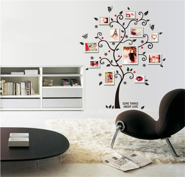 Durable PVC Removable Stickers Happy Tree Decorate Photo Frame Walls Sticker For Home Decor Wall Art Decals 2 4lk BB