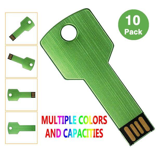 Green 10PCS/LOT Metal Key 4G 8G 16G 32G USB 2.0 Flash Drives Flash Pen Drive Storage Thumb Memory Stick for Computer Laptop Macbook