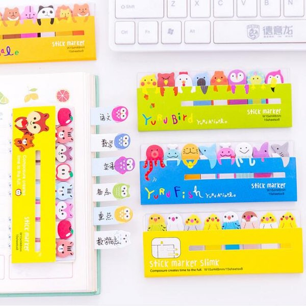 cartoons animals sticky notes cute creative memo pads bookmarks note paper stickers school office supplies stationery