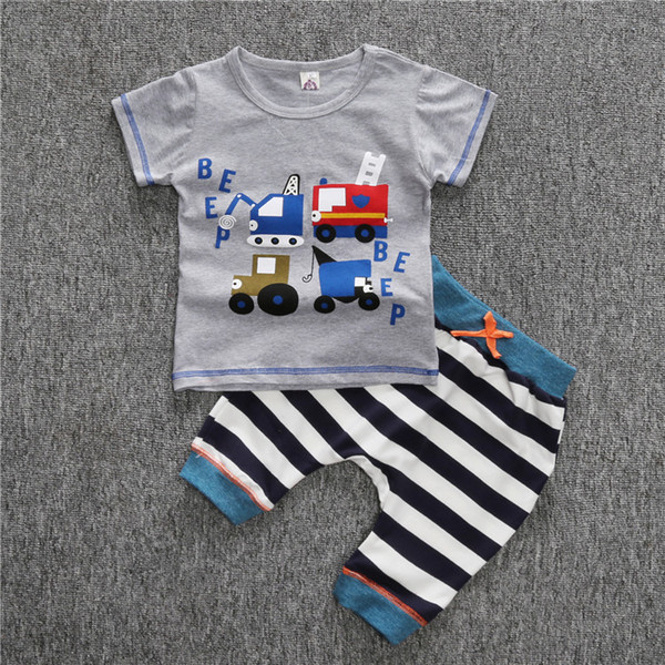 Infant Toddler Baby Kids Boys Outfits Babies Boy Cartoon car Short sleeve Tops T-shirt+Striped Pants Outfit Set Clothes