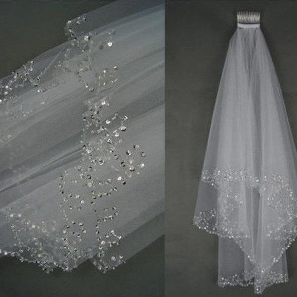 best selling Wedding Bridal Veil 2 Layer Hand Croissant Beaded Bridal edge Accessories Veil White and Ivory color