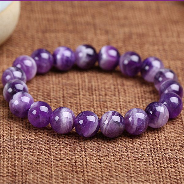 Drop Shipping Natural Material Amethyst Energy Stone Purple Charoite Bracelet Round Bead Bangle Quartz Crystal Jewelry Love Gift