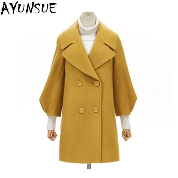 AYUNSUE casaco feminino 2018 New Fashion Autunno Lungo Parka Donne Doppio Petto Trench Coat Lady Abbigliamento Rosso Vendita Calda LX2158