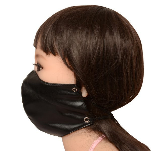 women fetish group sex party face mouth mask for cam girl swinger erotic play bdsm bondage faux leather black for dropshipping shop BX1213