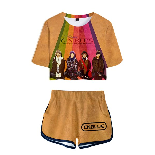 CNBlue 3D 100% Cotton Sets Woman Suit Girls Streetwear Korean rock band Women Popular Collage style sets sexy Dew kawaii cloth