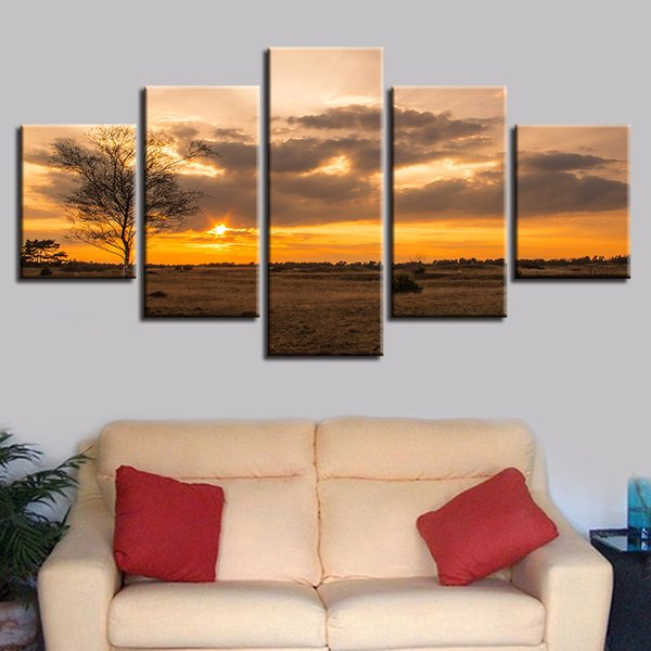 HD Modular Poster Frame Canvas Pictures 5 Pieces Tree Sunset Natural Scenery Painting For Living Room Wall Art Prints Decoration