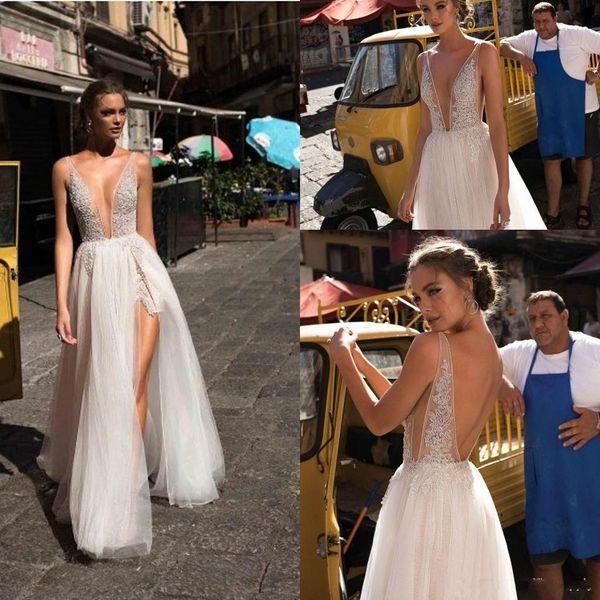 2019 Boho Sexy Deusa Vestidos De Casamento Da Moda com Profundo Profundo Mergulhando Decote Em V Frente Dividir Frisado Low Back Vestidos de Noiva Praia
