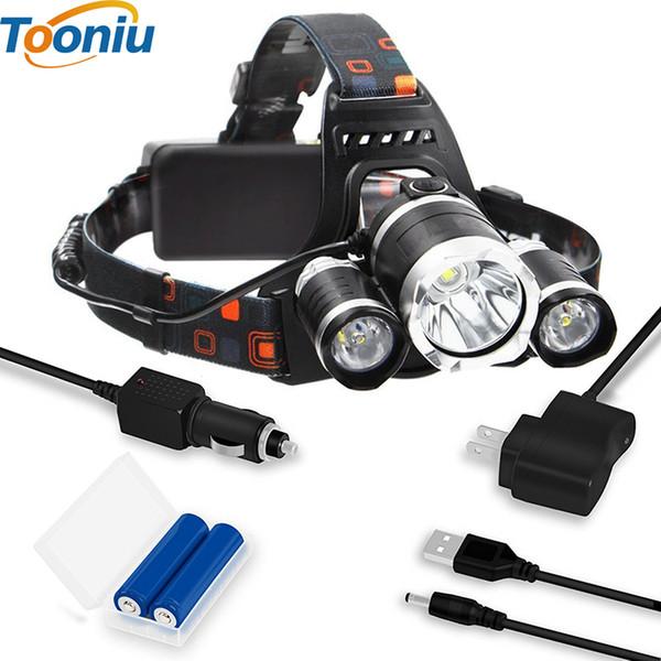 Linterna recargable 8000Lm XM-T6 HeadLamp faro de luz linterna de pesca + 2x 18650 batería + cargador de coche / CA / USB