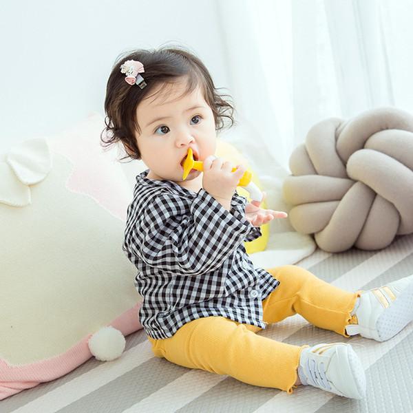 Bebek Kız Gömlek Marka Pamuk Çocuk Giyim Yüksek Kaliteli Ekose Kızlar Için Bluzlar Tam Kollu Çocuk Giysileri Kız Bebek Giysileri