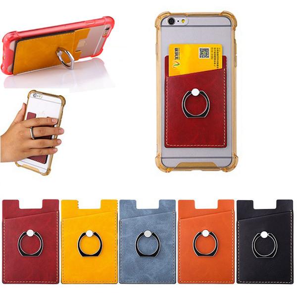 Titolare della carta in pelle PU Adesivo per telefono con supporto per anello per telefono Portafoglio per banconote Custodia per iPhone Samsung universale