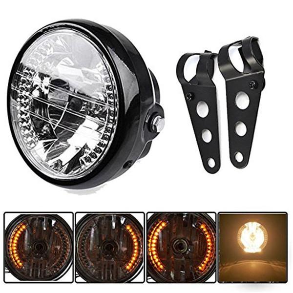 "Universal Black Bracket Mount Universal 7"" Motorcycle Bike Headlight LED Turn Signal Light"