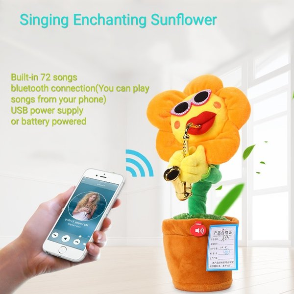 Поющие Подсолнухи Чарующий Цветок Плюшевые Игрушки Bluetooth USB Блок Питания Танцующий Саксофон Подсолнухи Творческий Игрушечный Подарок