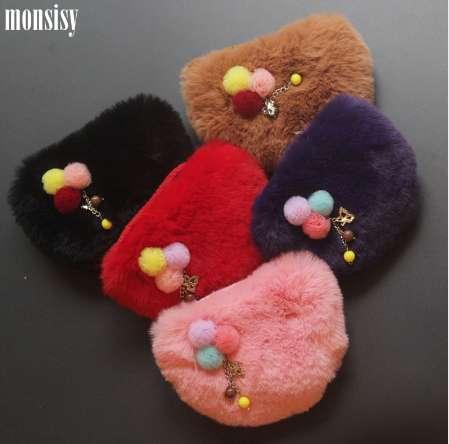Monsisy Faux Fur Ball Girl Portamonete Portafoglio bambino Borsa piccola borsa bambino borsa portamonete portamonete porta monete