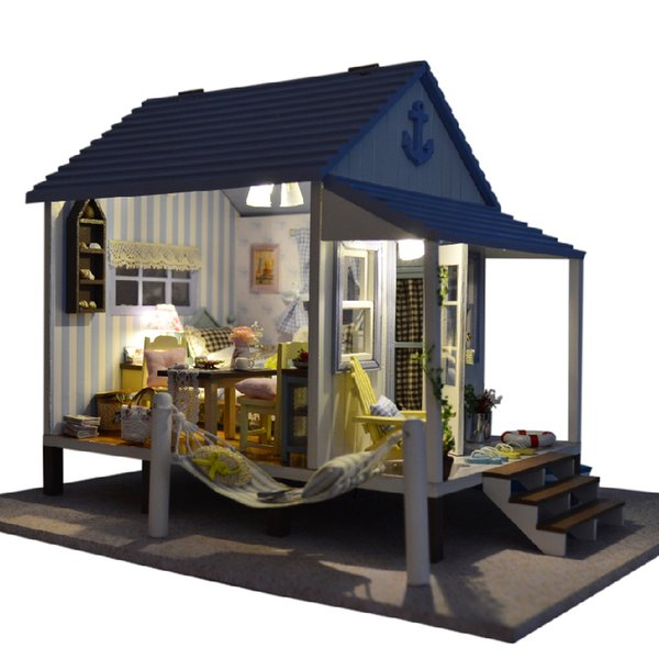 DIY Model Doll House Casa Miniature Dollhouse with Furnitures LED 3D Wooden House Toys For Children Gift Handmade Crafts A017 #E