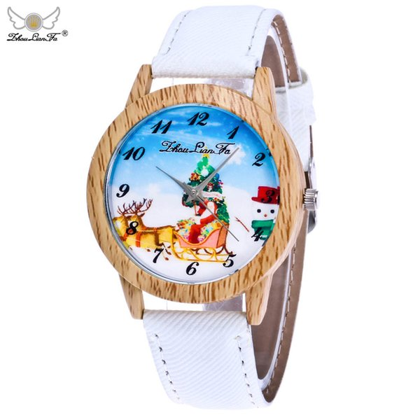 Zhou LianFa Christmas New Gift Santa Claus Watch Wood Grain Neutral Rose Gold Girls ladies Hot Sale Flowers Dress Halloween A40