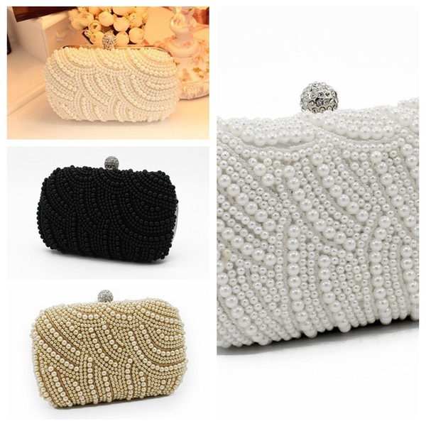 Elegant Full Pearls Crystal Beaded White Bridal Wedding Hand Bags Evening Party One Shoulder Small Clutch Dinner Bags Champagne For Ladies