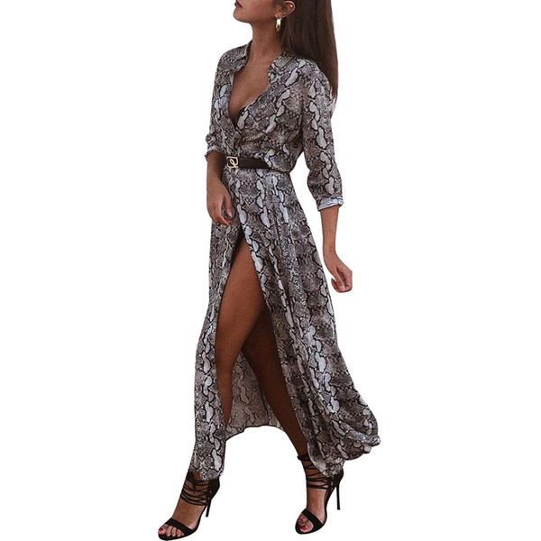 Goods In Stock ! Autumn And Winter Snake Long Sleeve Sexy Longuette women clothes maxi mini club Dress fashions Suit-dress dressed