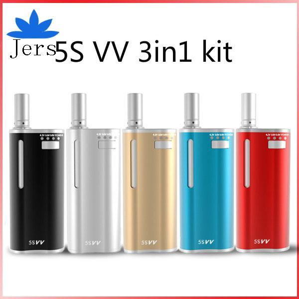 5S VV kit 2in1 Dry Vaporizer Starter Kits Preheat 5SVV MT6 650mah Wax Thick Oil Variable Voltage Vape Mod 100% original original product