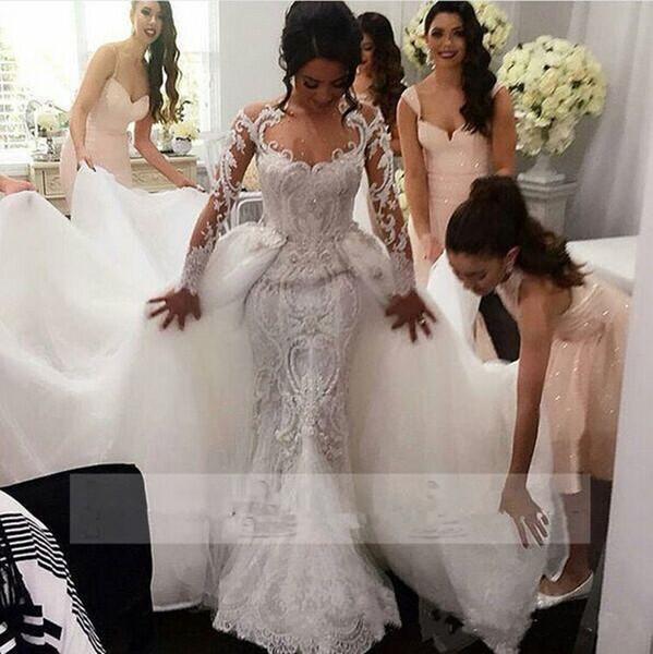 4bf3d3c290 Middle East 2018 Wedding Dresses Mermaid Bridal Dresses Trailing Sexy Lace  Overskirts Berta Bridal Wedding Gowns Detachable Steven Khalil