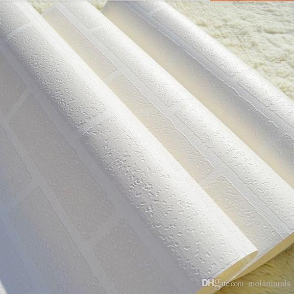 Modern 3D Tuğla Duvar Kağıdı Beyaz Kalın Kabartmalı Su Geçirmez Vinil Kaplaması Duvar Kağıdı Rulo Mağaza Oturma Odası TV Zemin Tuğla Duvar Kağıdı