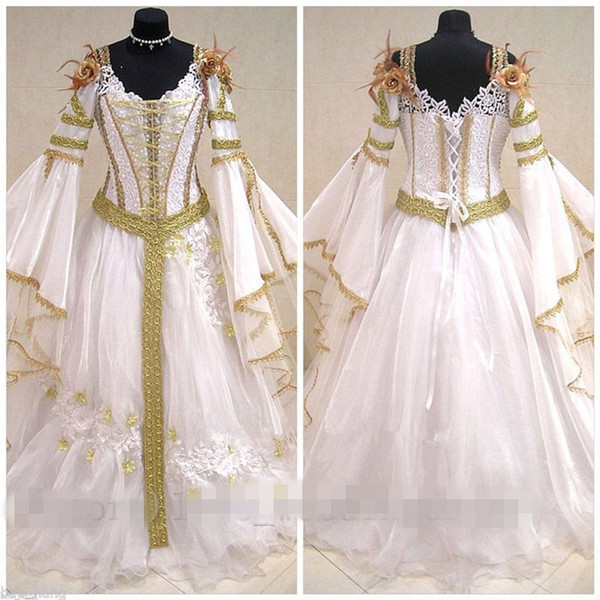 2019 Medieval Vintage Wedding Dresses Celtic Halloween Long Sleeve Lace Appliques Back Lace Up Bridal Gown Custom Made