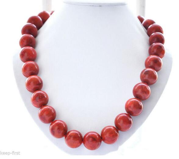 """top popular Natural 10 12 Pretty Red Grass Coral Round Beads Necklace 18"""" 2021"""