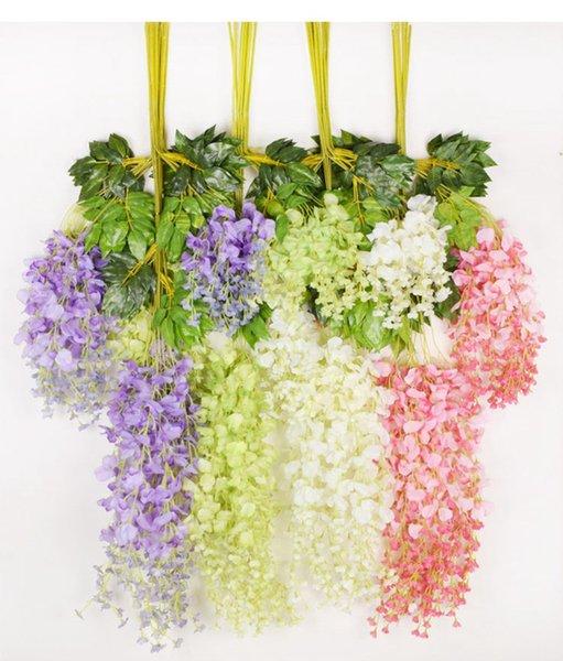 Wisteria Künstliche Blumen Gefälschte Blumen Reben Tuch von Seidenblumen Rattan für Hochzeit Hintergrund Party Dekoration 75WIS