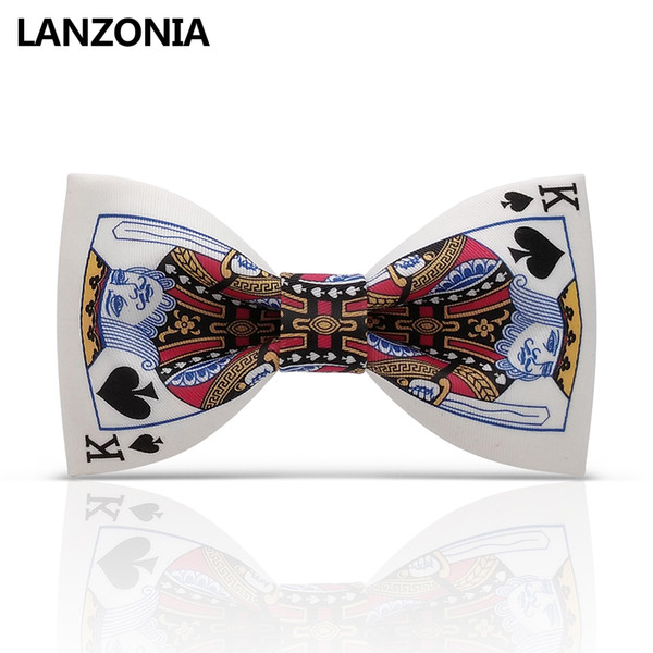 Lanzonia White Funny Poker Patterned Bow Tie For Men Funny Novelty Bowtie Stylish Different Types Of Neckwear