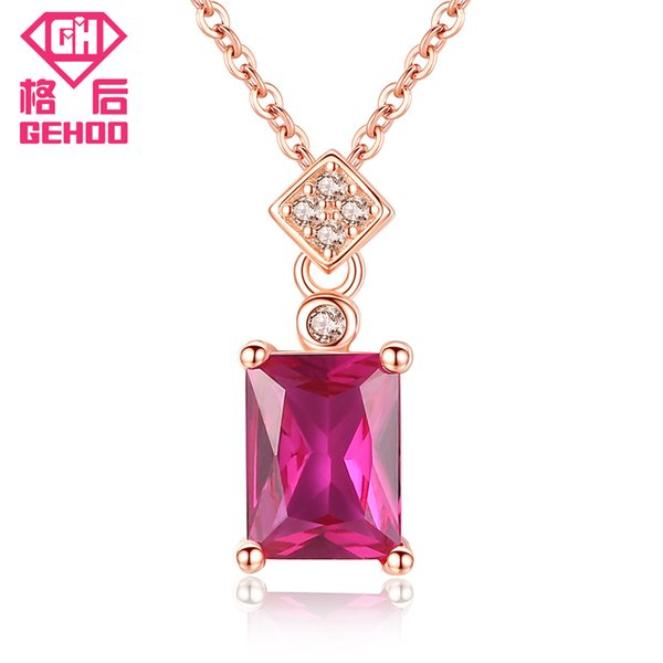 GEHOO 2018 New Arrival 925 Sterling Silver Charm Chains New Red Ruby Pendant Gem Stones Square Necklace Jewelry Gifts for Women