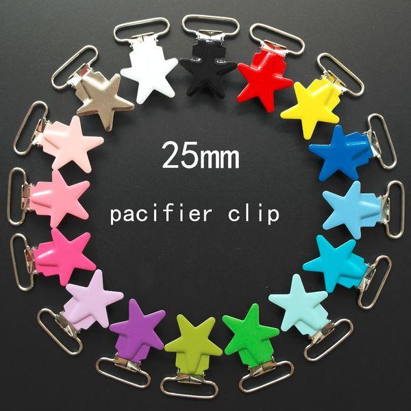 Wholesale 10 Pcs Enamel Star Shape Metal Baby Pacifier Clips Holders / Suspender Clips Dummy Clip Holder Chain Plastic insert