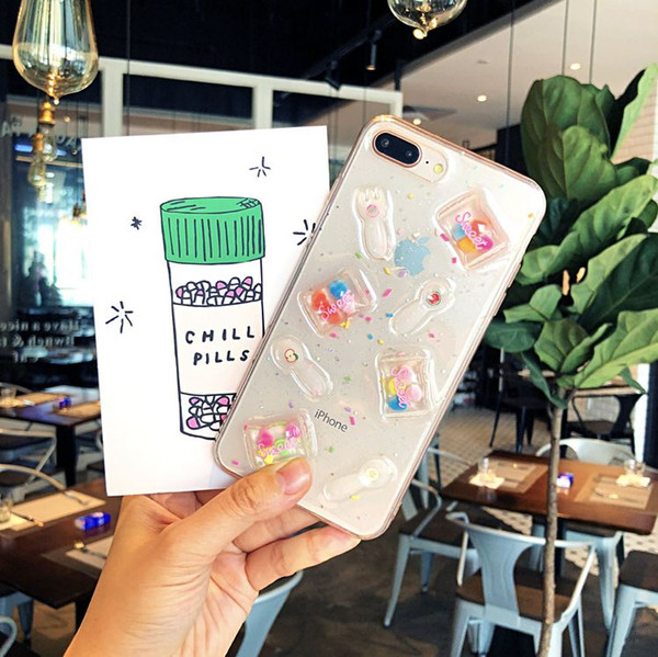 Korea INS Sugar Transparent Cell Phone Shell Qute And Funny TPU Case For Iphone6/7/8/X Plus New Product Three-Dimensional