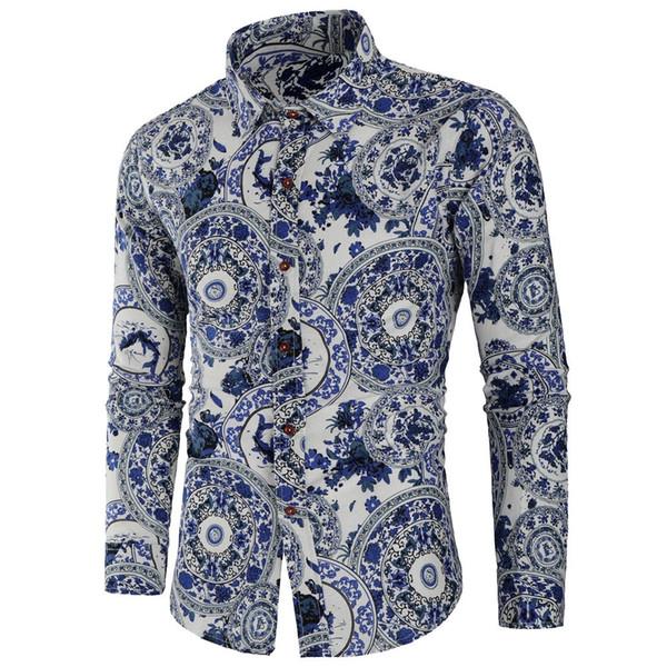 Feitong 2018 Мужская повседневная рубашка Slim Fit Мужская рубашка с длинным рукавом с принтом Уличная мужская одежда Блузка camisas masculina